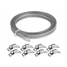 Zestaw do robienia opasek zaciskowych: taśma 8mm x 3m + 8 zacisków ślimakowych