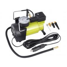 Kompresor powietrza tłokowy 12V, 11 BAR, 35L / min, analogowy ciśnieniomierz, 4 adaptery