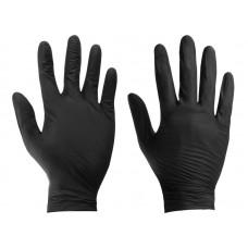 Rękawiczki nitrylowe bezpudrowe, czarne, rozm. XL, opakowanie 100 szt.