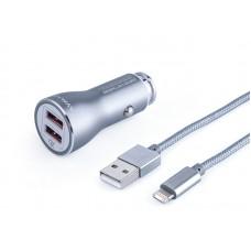 Ładowarka MYWAY 12/24V QC3.0 2x USB Auto -ID, max 4.2A + kabel z zespoloną wtyczką microUSB + Lightning
